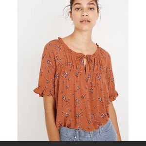 Madewell Tie Neck Peasant Top Ginger Floral